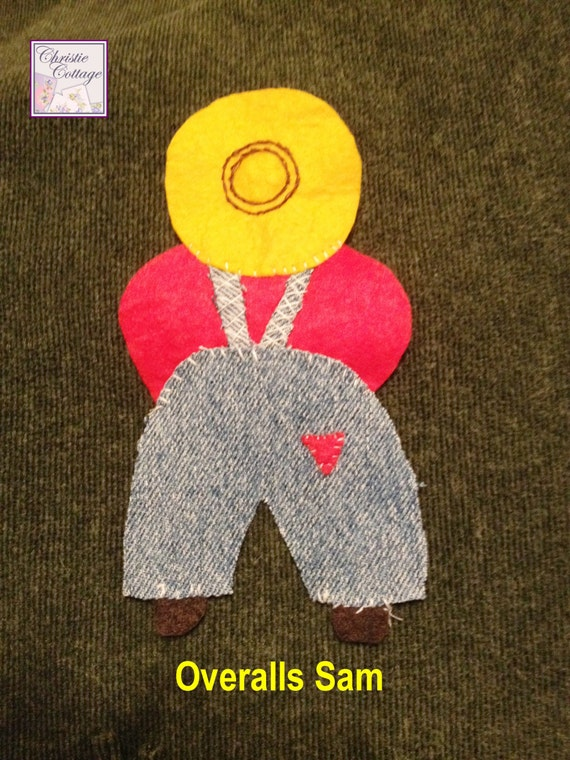 Overalls Sam, Applique, Handmade