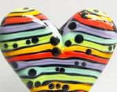 Zuma Stripey Mini Heart--Handmade Lampwork Glass Bead
