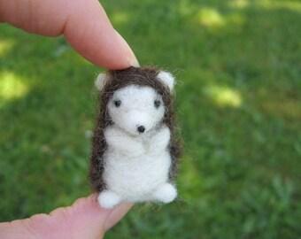 Felted Hedgehog Tiny Miniature figure