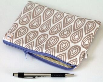 Cream droplets padded wallet, cash envelope pouch. Tan purple purse with zipper. mustard yellow polka dots, pen pencil case journaling bible