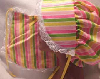 Adult Baby Sissy  Matching Bonnet and Bib  Set  Rainbows