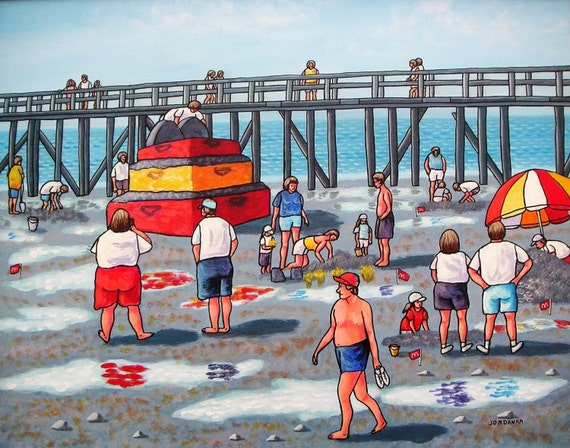 FREE SHIPPING, Folk Art, Sandcastle contest, White Rock, Original naive painting by Jordanka Yaretz