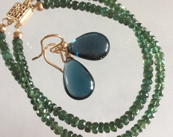 Reserved - London Blue Topaz Earrings, Pendant & Chrome Diopside Bracelet