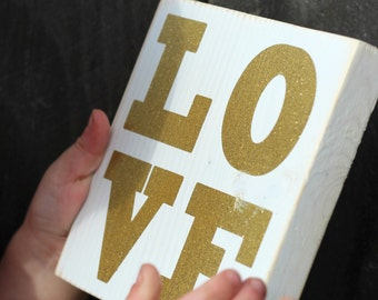 L-O-V-E LOVE | gold glitter or RED | 5.5 inch handpainted wood mini-sign | Gallery Wall | Gold Spring  Red Love Valentines Day