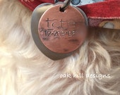 Hand stamped pet ID tag-pet identification tag-dog tag-custom personalized dog ID tag-personalized dog collar tag
