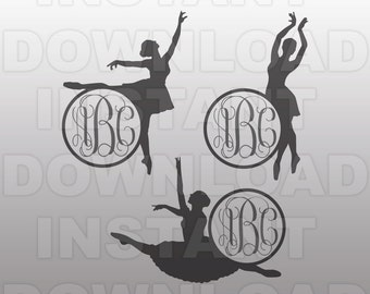 Ballerina SVG File - Ballet Dance Monogram SVG -Commercial & Personal Use- vector svg file for Cricut,svg file Silhouette,vinyl cutting