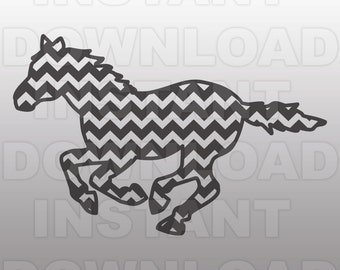 Chevron Mustang SVG,Horse SVG,Cowboy svg-Rodeo svg-Cutting Template-Vector Clip Art for Commercial & Personal Use-Cricut,Cameo,Silhouette