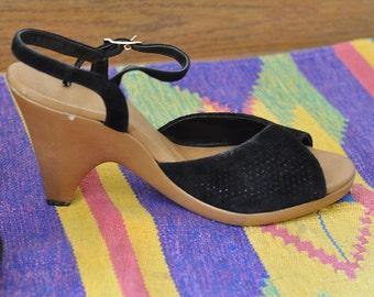 1970's Connie Yo Yo Black Suede Peep Toe Wedge Sandals, Size 8/8.5