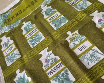 Vintage Linen Ulster HERBAL Herb Themed Tea Towel Ireland