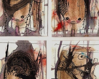 No. 9007, Set of 4 ACEO Art Cards