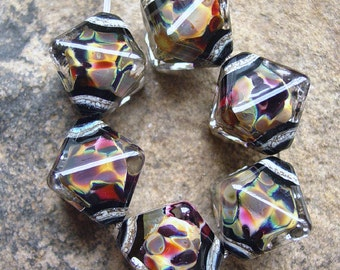 City Lights - Set of 6 Crystal Bicone Beads - SRA Glass Lampwork