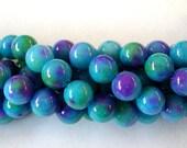 8mm Jade Beads,  Aqua and Purple Dyed Jade Beads. Full Strand   50 Beads