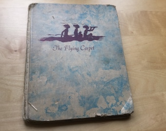 Antique Vintage book The Flying Carpet by Marcia Brown Arabian Nights  story Library Binding 1956 Edition canvas stitched binding