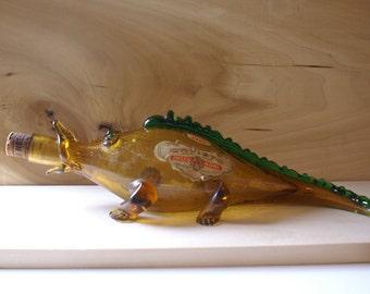 Vintage 1967 Italian Wine Glass Decanter Bottle, Fish Salamander Alligator, Italy