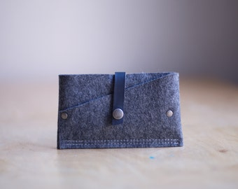 Tiny Clutch iPhone Case, industrial wool felt and leather - Charcoal