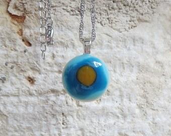 Glass Pendant, Caramel on Blue Necklace, Small Fused Glass Pendant, Handmade Bohemian Jewellery