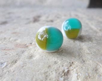 Glass Earrings, Post Earrings, Button Earrings, Fused Glass Earrings, Green Earrings, Everyday Earrings, Handmade Earrings