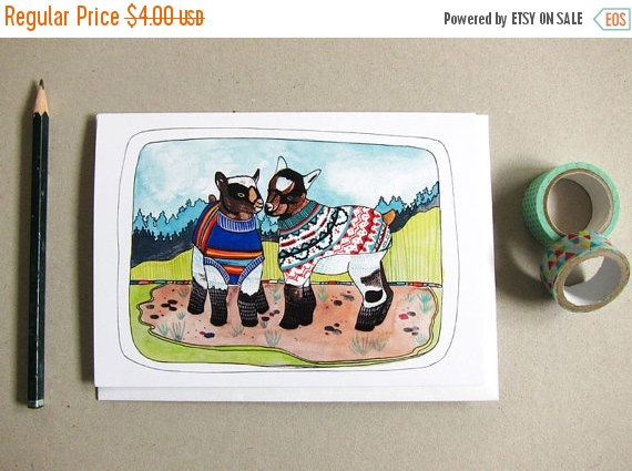 ON SALE Goat Card - Funny Card - Blank Greeting Card - Baby Goats Card - Goats and Sweaters - Note Card - Urban Goats - Baby Goats Wearing S