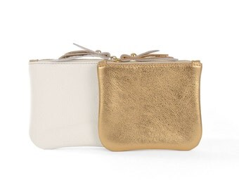 Gold/White Leather SL Pouch
