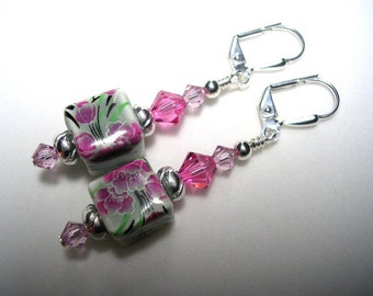 Pink earrings painted porcelain flowers rose swarovski crystals silverplate leverback hooks wire wrapped Very pretty pink and green dangles
