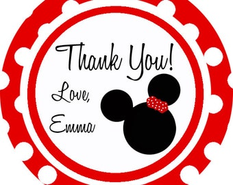 Minnie Mouse theme thank you tags, favor tags, gift tags - set of 24