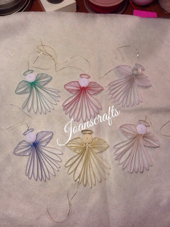 Six Quilled Minature Angel Ornaments