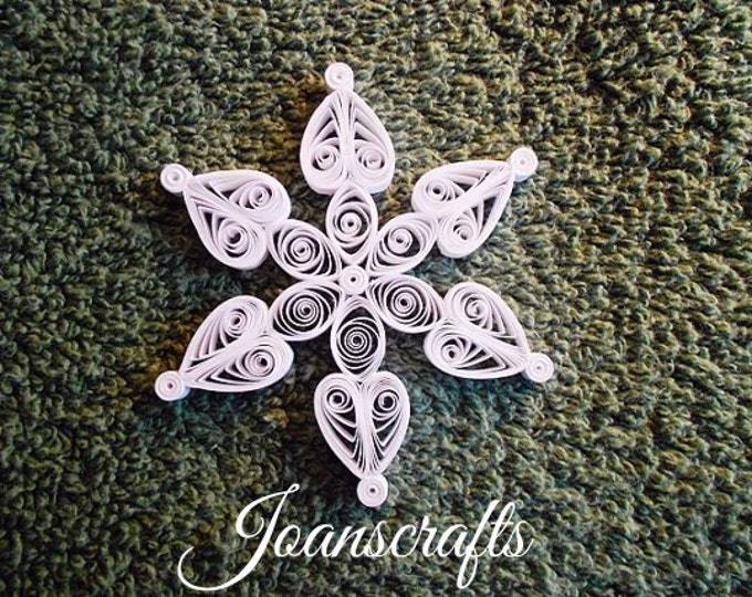 "Mini Quilled Snowflake ""Hearts & Flower"" Ornament"