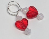 Light Red and White Opal 2 Hearts Swarovski Crystal Stitchmarkers