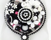 Half Off Sale Hand Mirror - Black and White Whimsy - Repurposed Jewelry - M000904