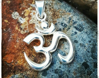 Om Pendant with Bail - Sterling Silver Om Symbol Necklace