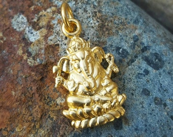 Gold Ganesh Charm - Yoga Jewelry - Vermeil Ganesh Necklace