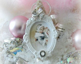 Winter Whimsies Christmas Ornaments featured in Romantic Homes Magazine Christmas Decorating Issue 2015, Victorian Girl