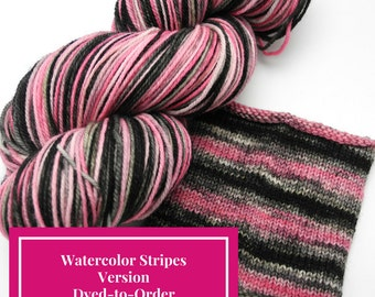 Paris At Last Watercolor Stripes, Self Striping Hand Dyed Targhee Sock Yarn - Dyed to Order