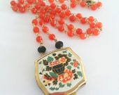 Vintage necklace, Statement Necklace, vintage ashtray, orange necklace