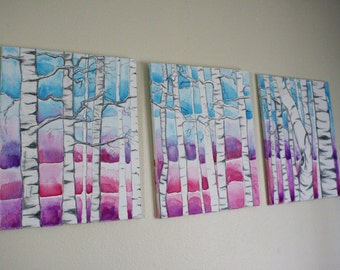 SALE triptich of Birch Trees at sunset, over the bed, living room pastel original painting set