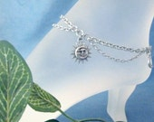 Celestial Anklet A Gift of the Moon, the Sun and the Stars on Stainless Steel Sturdy Chains Anklet or Bracelet Astrology Heavens Summer Fun