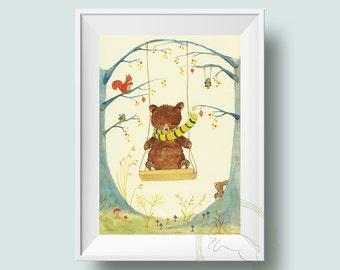 Bear's Playtime - Woodland Animals Art Print