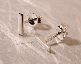 7mm x 2mm Small Sterling Silver Bar Earring Studs Silver Newport RI Jewelry by Susan SARANTOS