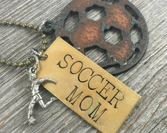 SOCCER MOM | Custom Rustic Recycled Metal Soccer Ball Necklace with Hand Stamped Tag | Can Be Personalized