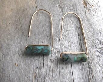 Arch Bronze Tube Bead Earrings, Modern Geometric Dangle Earrings