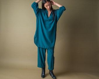 forest green oversized tent dress pant set / vtg 70s shirt dress / cropped pant set / m / 1533t