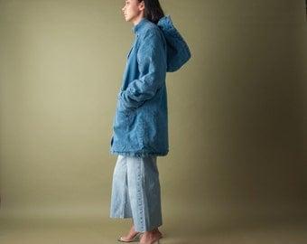 hooded faux shearling denim field jacket / oversized denim coat / denim winter coat / s / m / 1980o