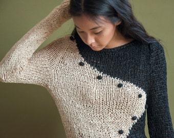 kaz woven ying yang sweater /  crochet stretch top / avant garde sweater / s / m / 684t