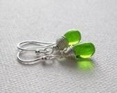 Peridot Green Teardrop Earrings. Sterling Silver Earrings. Petite Bead Earrings. Briolette Earrings. Wire Wrapped. Wedding Earrings