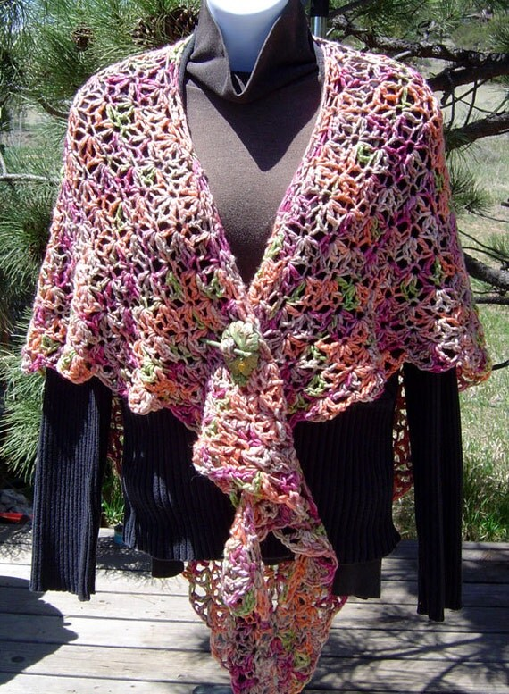 On SALE - SPICES Hand Crocheted Wool Silk Shawl Curry Cardamom Cinnamon Paprika Red Pepper