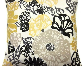 Decorative Pillow Cover, Modern Floral, Black, White, Yellow, Taupe, Gray, Same Fabric Front/Back, Toss,Throw, Accent, 18x18 inch x