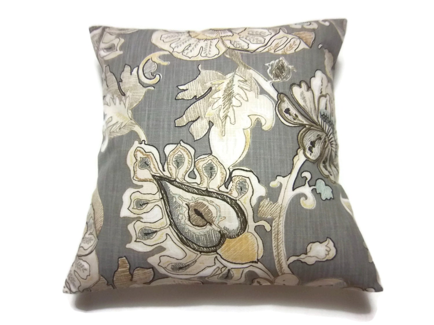 Decorative Pillow Cover Bold Floral Design Gray Ivory Tan