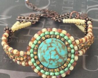 Beaded Bracelet  - African Turquoise Seed Bead Bracelet - Handmade Beadwork Jewelry