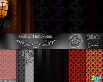 "Gothic Halloween 12"" by 12"" scrapbooking paper digital victorian gothic dark printable"
