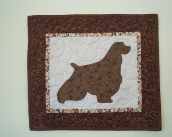 SALE--- English Springer Spaniel - Quilted Mini Dog Wall Hanging 17 x 15